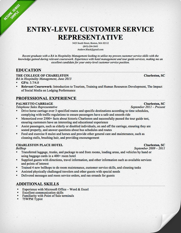 Csr Objective Resume Sample Diamond Geo Engineering Services  Customer Service Objective