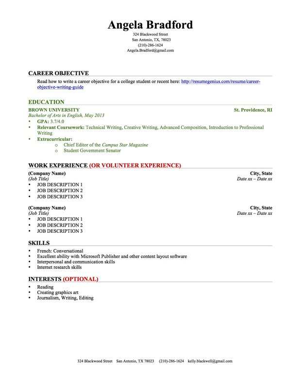 Sample Of College Student Resume | Resume Cv Cover Letter