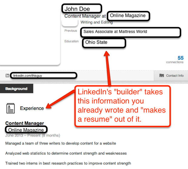 LinkedIn's Weak Resume Builder