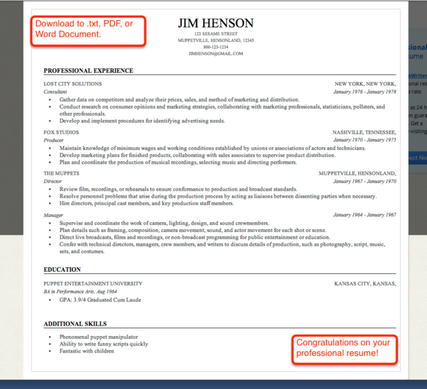 finished resume from resume builder - Professional Resume Builder