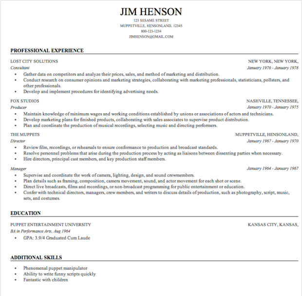 jim hensons resume built by resume genius - Format For Making A Resume