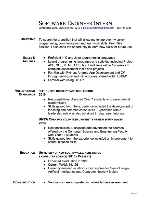 Resume Resume Examples Internship Engineering join the redditresume critique project software engineer intern resume page 1