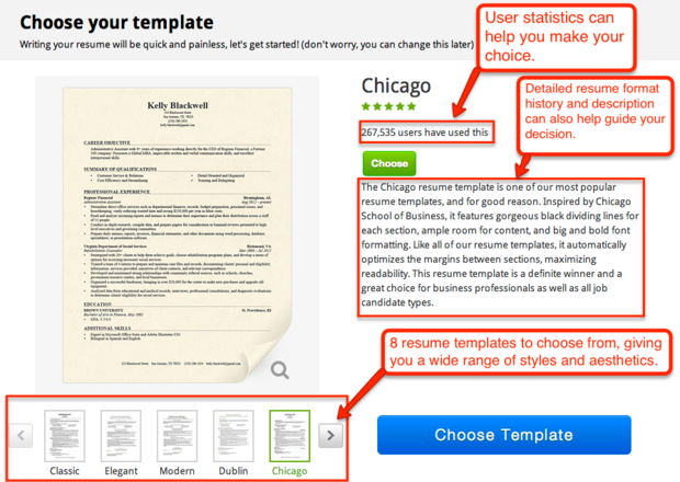 resume template choice page - Online Resume Formats 2