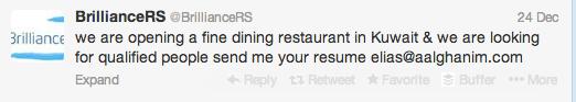 Twitter Job Posting Fine Dining