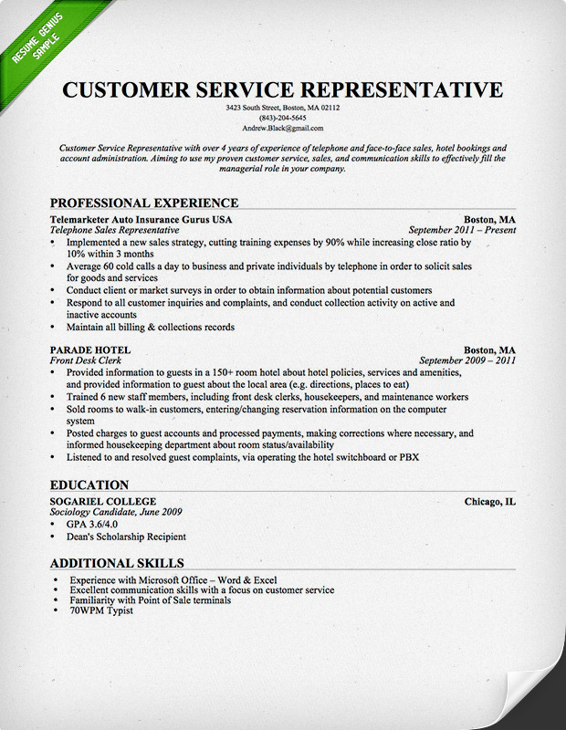 Cover Letter Example Customer Service Representative Resume Objective With  Professional Background Resume Objectives For