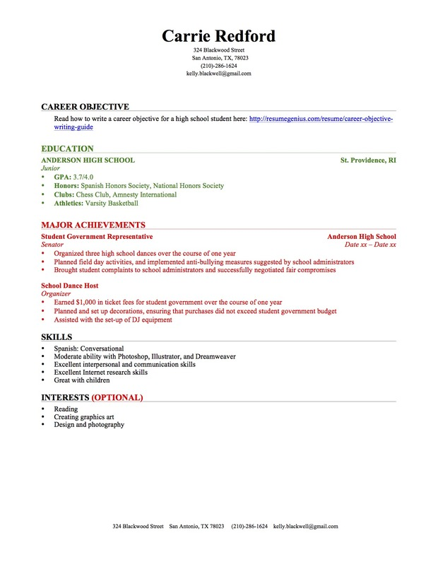 doc 756977 high school student resume format - Resume Template With No Experience