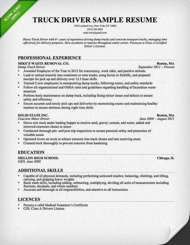 Resume Objective For Transportation Driver