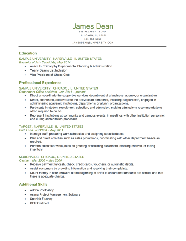 Student Reverse Chronological Resume Format