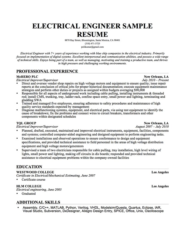 Electrical Engineer Resume Sample | Resume Genius