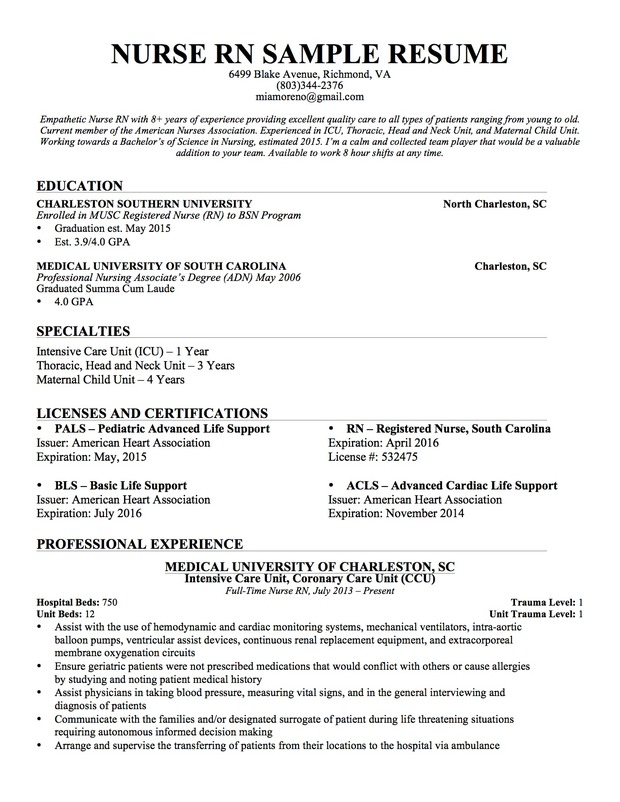 Sample Of Nurse Resume