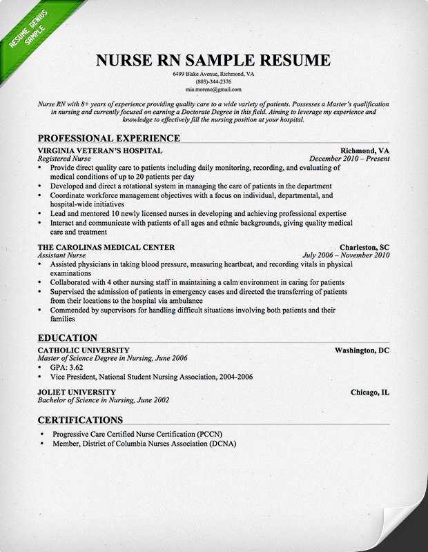 Registered nurse resume sample