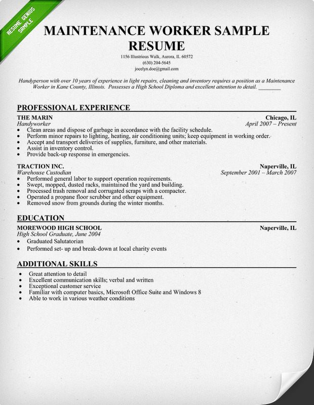 resume for maintenance worker