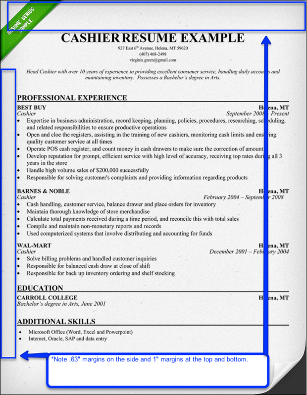 Official Resume Margins  Recommended Resume Font